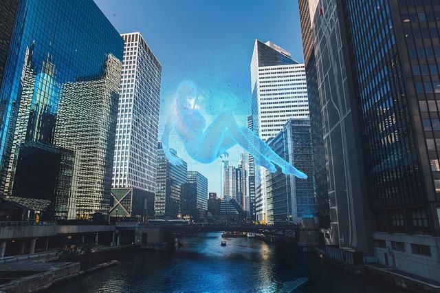 Exemple d'un hologramme dans une ville