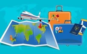 valises et voyage en avion